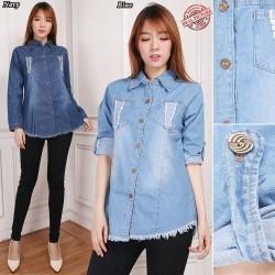 Atasan Kemeja Focu Blouse Kemeja Jeans Wanita