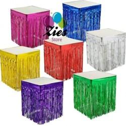 Taplak meja rumbai foil / fringe curtain table skirt / tirai foil meja
