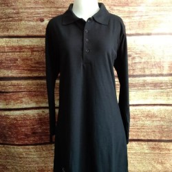Kaos Krah Tunik Polo Lacoste Muslimah Busui Panjang HITAM uk. S - XL