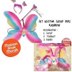 Sayap Peri Rainbow Kupu Kupu Anak Kostum Peri Pelangi Tongkat Bando
