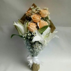 Buket bunga mawar mix lili kasablanka | bouquet | fresh flower