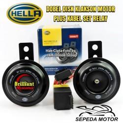 Klakson Dobel Disk HELLA utk Motor *Plus Kbl Set & Relay Hella*