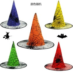 Topi Penyihir Murah Motif Laba Laba Cosplay Kostum Halloween Pesta - Merah