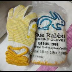 SARUNG TANGAN BINTIK DOT 1 LUSIN BLUE RABBIT SAFETY WORKING GLOVE