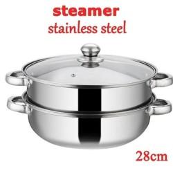 Panci Steamer / Panci Kukus Stainless 28cm -Steamer Pan Multiguna