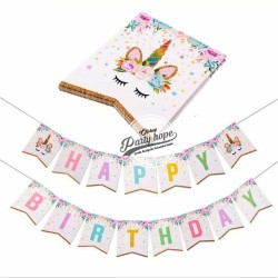 Banner Happy Birthday / Bunting Flag Ulang Tahun Unicorn Sparkling