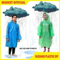 Jas Hujan Plastik LDPE Poncho Bambu Tebal Murah