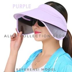 Topi Pantai Topi Anti UV Topi Matahari Topi Golf Wanita - Hitam