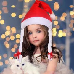 Topi natal TOPI SANTA kepang anak perempuan braided hair christmas hat