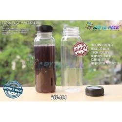 PET464. Botol plastik 250ml PET minuman jus kale tutup hitam segel
