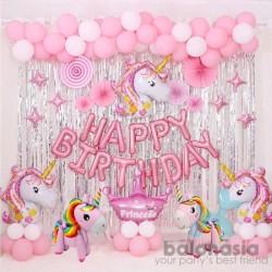 Balon Foil Unicorn Set Pink Lengkap