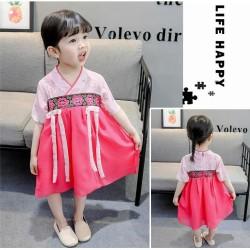 Dress Hanbok Korea Anak Flowerist Hot Pink