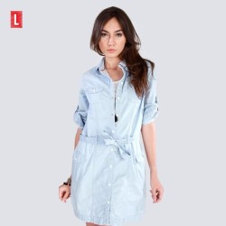 DRESS LENGAN PANJANG CODE CHAMBRAY MINI DRESS ( 74001L2LL ) LOGO JEANS