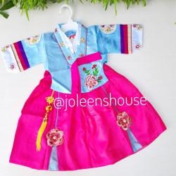 Hanbok Kecil Biru 1-3 / Baju Kostum Korea Bayi Perempuan