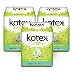 Kotex Liners Unscented 40s 3 Pack