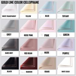 Gold line color cellophane 10 lembar/kertas bunga/wrapping paper