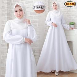 Gamis Mostcrep GZ978 White/ Gamis Putih/ Gamis Umroh