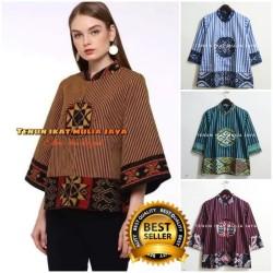 blus tenun mix lurik batik tenun modern blouse batik
