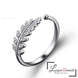 Cincin Titanium Ring Model Daun Kristal Crystal Mewah Anti Karat CC018 - Silver