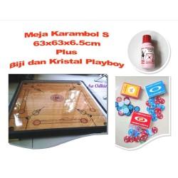 Meja Karambol S 63x63x6.5cm Plus Biji&Kristal Playboy-Only Gojek Grab