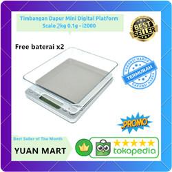 Timbangan Dapur Mini Digital Platform Scale 2kg 0.1g Akurat