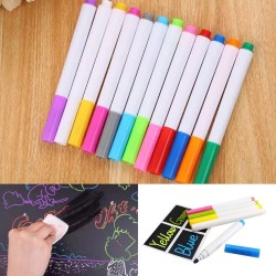 12 Pcs Colorful Chalk Pen / Kapur Spidol Cair Warna Marker Papan Tulis