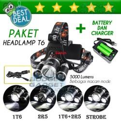 PAKET HEMAT Lampu Kepala T6 High Power Headlamp + 2 BATERAI + CHARGER