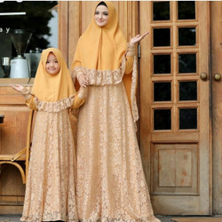 GAMIS COUPLE MOM AND KID / BAJU MUSLIM COUPLE BRUKAT IBU DAN ANAK GOLD