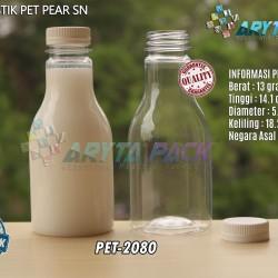 PET2080. Botol plastik 250ml pet minuman pear tutup putih segel
