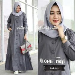 Baju Gamis Syari Wanita Terbaru Crown Maxi Dress Hijab Syari Polos