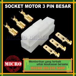 Soket Motor 3 Pin Besar + Skun / Konektor Kabel Motor / Socket