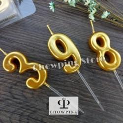 Lilin Angka Ulang Tahun / Birthday Candle GLOSSY Polos - GOLD