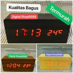 Jam Alarm LED Wood / Jam Meja Digital Motif Kayu & 1299 - Cokelat