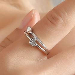 cincin hati heart love soul adjustable ring jci049 - silver