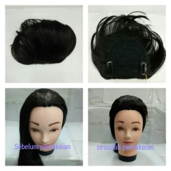 Wig/tambahan rambut/tambahan sasak/tambahan rambut atas tipis - Hitam