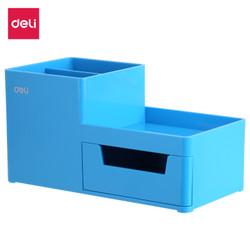 Deli EZ25130 ABS,PS Desk Organizer Blue, 3comp., 1 drawer (Blue)