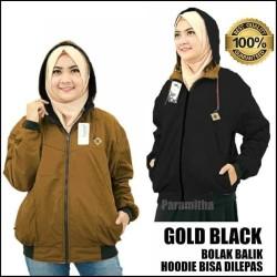 JAKET BB PARKA WANITA / BOLAK BALIK SEMI PARKA PREMIUM / GOLD BLACK