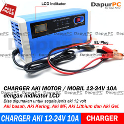 Charger Aki Portable 12-24V 10A Mobil Motor Intelligent Chip LCD