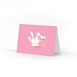 Birthday Bunny Holding Cake Card