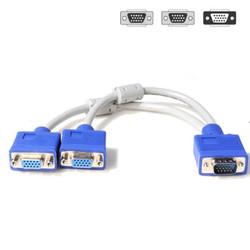 Kabel VGA splitter cabang 1male ke 2female DB15 - VGA Splitter 2 Port