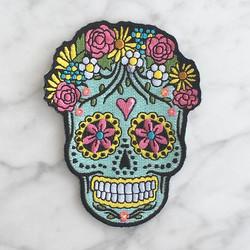 Skull Colour 8x6cm Iron Patch Bordir Tempel Emblem Bordir Patches Sew