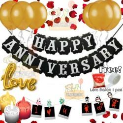 Paket Dekorasi Hiasan Banner Happy Anniversary With Balon Love & Lilin