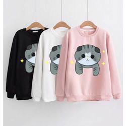 DaveFashion - Sweater Wanita Lengan Panjang Kekinian Cute Cat