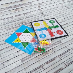3 in 1 Ludo, Ular Tangga, Halma - Papan Board Game Magnet 3 Permainan