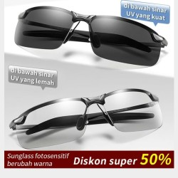 Kacamata Photocromic & Polarized Sunglasses Anti Silau Siang & Malam
