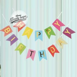 Banner Flag HBD / Bunting Flag Happy Birthday Pelangi / Rainbow hbd
