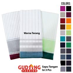 Sapu Tangan Pria Isi Tiga Katun Multi Colour SPT 101 - Warna Terang