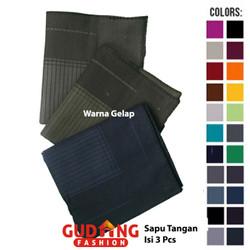 Sapu Tangan Pria Isi Tiga Katun Multi Colour SPT 101 - Warna Gelap