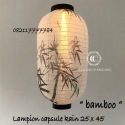 Lampion capsule kain sablon bambu outdoor 25 x 45 cm jepang imlek