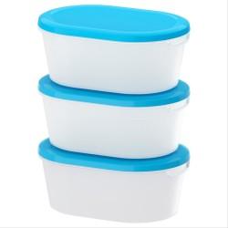 IKEA JAMKA Tempat makanan - putih transparan - biru 20x14x8 3 pcs